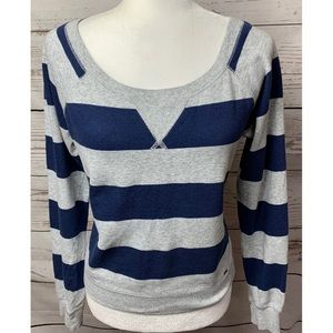 EUC Garage Gray & Navy Blue Striped Sweater Medium